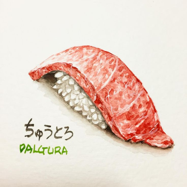 "203 Likes, 8 Comments - watercolor food painting/맛있는그림 (@dalgura) on Instagram: ""참치 중뱃살 ..참치를 엄청 막 좋아하진 않아서 대뱃살 보다는 요게 좋다 ㅎㅎ ちゅうとろ。。マグロは嫌いじゃないけど好きでとは言えないので私にはおおとろよりちゅうとろが良い。ウンウン。。…"""