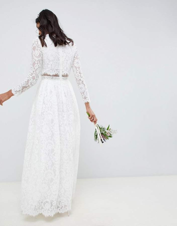 b83784fd89a0 Asos EDITION lace long sleeve crop top maxi wedding dress #long#sleeve#lace