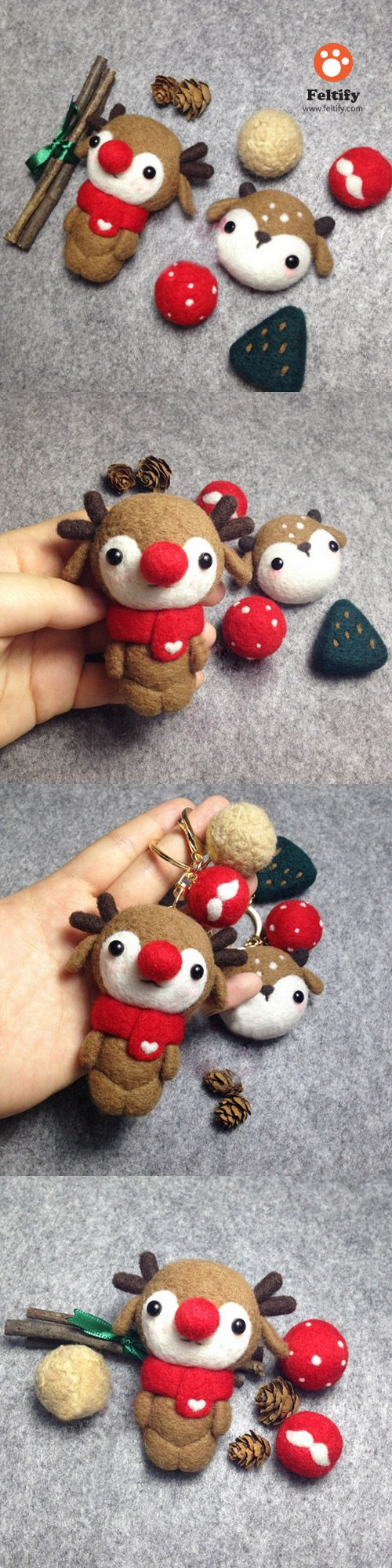 Handmade needle felted felting cute animal project reindeer doll Christmas toy