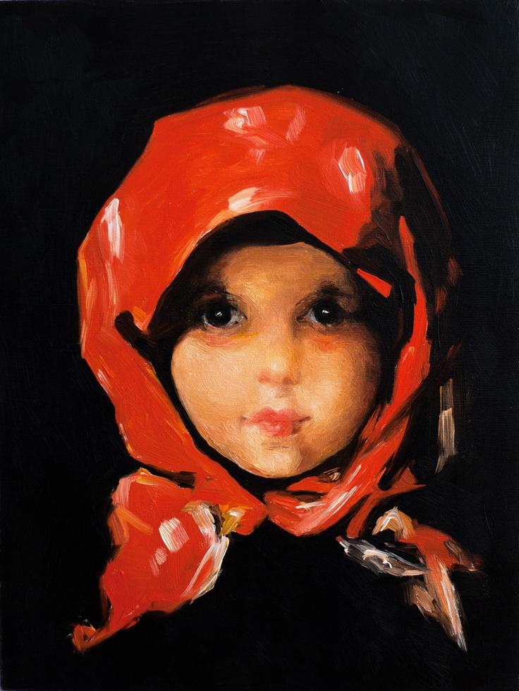 """Nicolae Grigorescu (1838–1907) - """"Fetita cu basma rosie""""."""