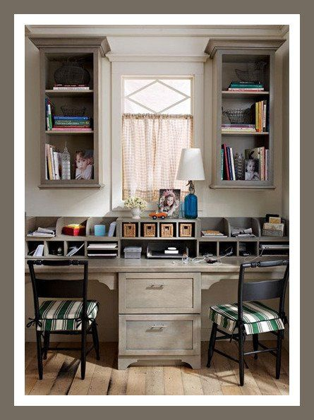 Love this dual desk set up - - great homework station for the kids.  Would fit in the breakfast nook!