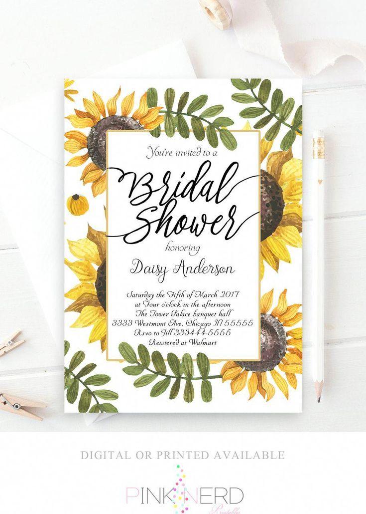 Sunflower bridal shower invitation, watercolor flower invitation - Pink Nerd Printables #bridalshower