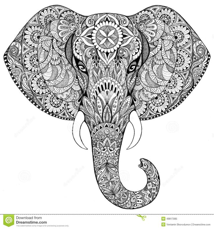 Tattoo Elephant With Patterns And Ornaments Stock Illustration