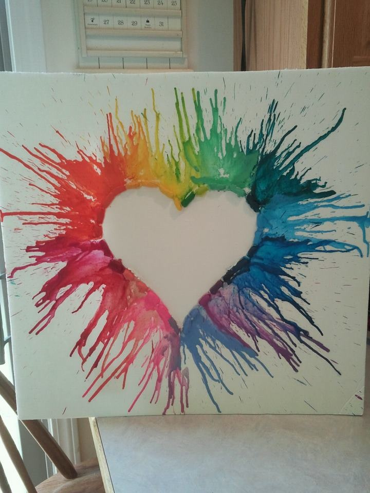 heart crayon art :)  use black canvas and?