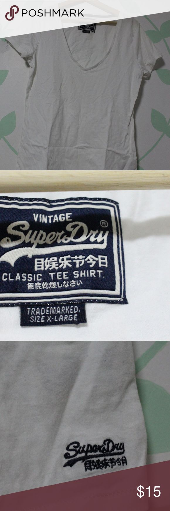 Never Worn SuperDry White V-Neck T Shirt XL Does not have tag on it but its never worn! Superdry Tops Tees - Short Sleeve