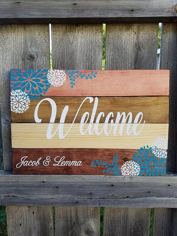 Welcome Sign Pallet Sign Stained Sign Flowers Pallet