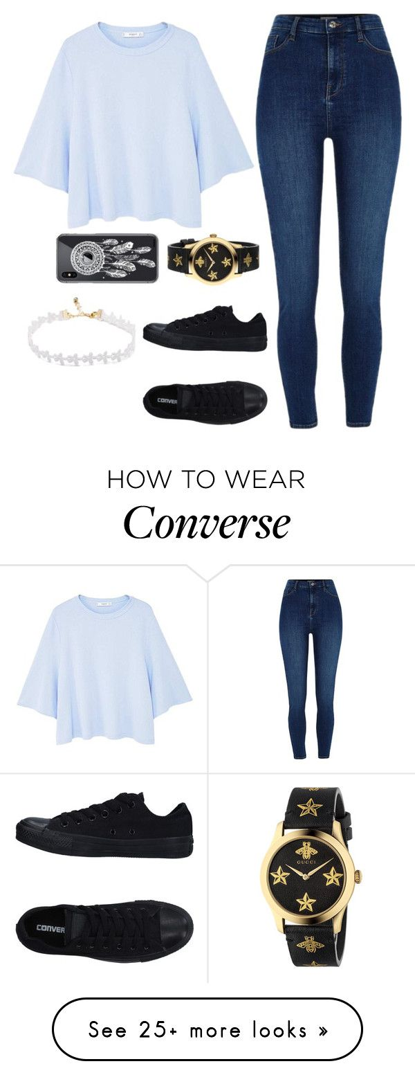 """Untitled #1599"" by blossomfade on Polyvore featuring MANGO, River Island, Converse, Gucci and Revé"