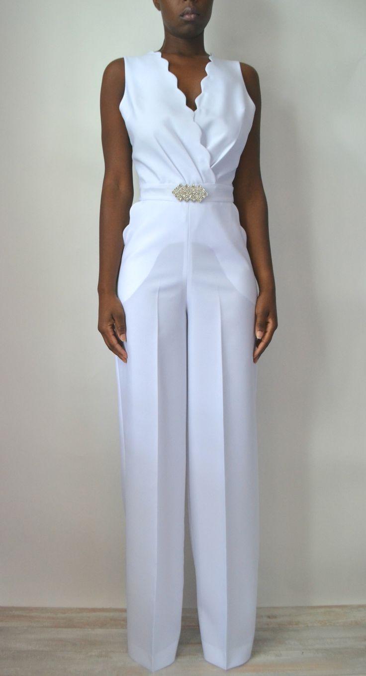 rebecca scallop lace back bridal jumpsuit shop now