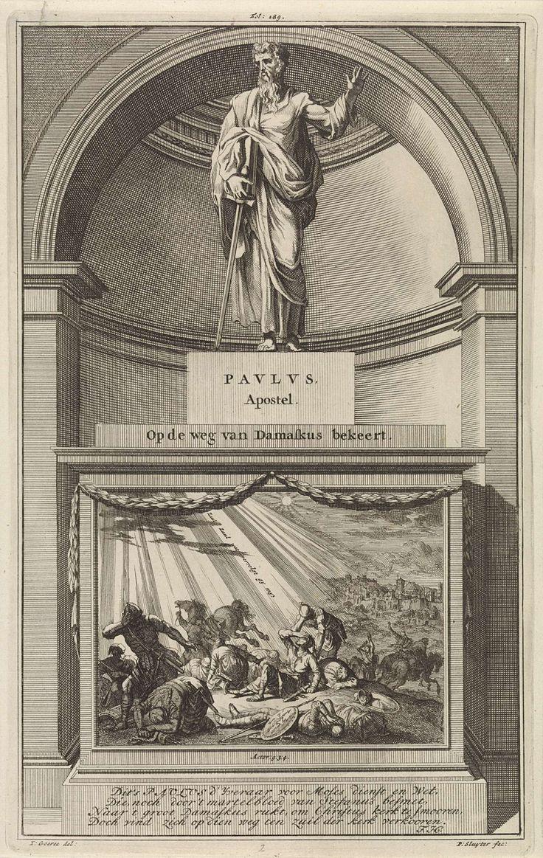 Jan Luyken | Apostel Paulus, Jan Luyken, Zacharias Chatelain (II), François Halma, 1698 | De apostel Paulus met een zwaard in zijn hand. Paulus staat op een sokkel waar op de voorzijde zijn bekering tijdens de tocht naar Damascus in beeld is gebracht. Prent middenboven gemerkt: Fol: 189.