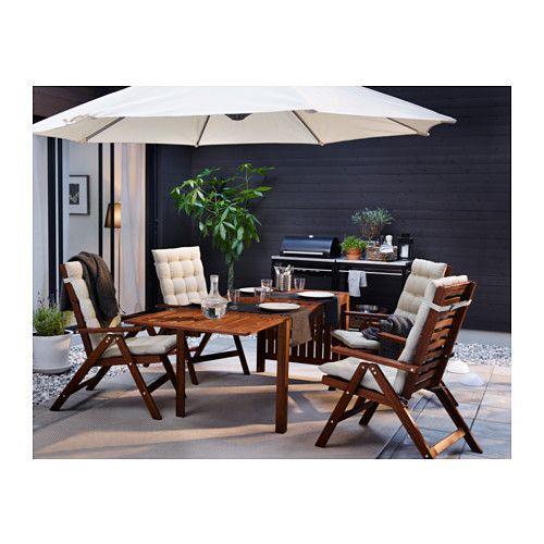 ÄPPLARÖ Reclining chair, outdoor - folding brown stained, - - IKEA
