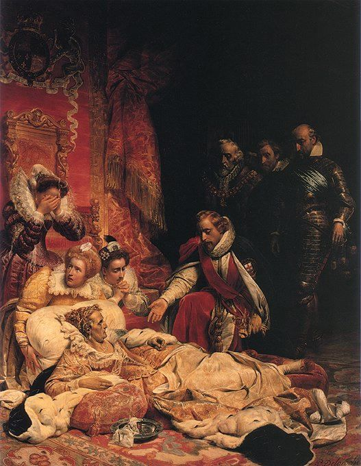 The death of Queen Elizabeth I., as imagined by artist, Paul Delaroche (1828).  In March 1603 Elizabeth was described as being unwell and seemed depressed.   She took up residence in one of her favourite palaces – Richmond – close to the River Thames.   She refused to allow herself to be examined, and she refused take to her bed – standing for hours on end. As her condition deteriorated her ladies-in-waiting spread cushions on the floor, and Elizabeth eventually lay down on them.