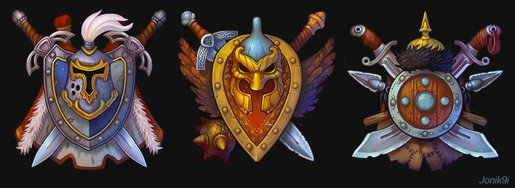 Art for game. Picture  (2d, fantasy, game art, sword, shield)