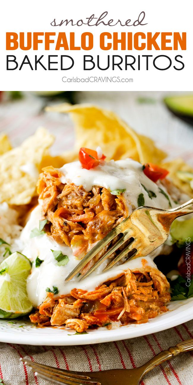 """Smothered Baked BUFFALO Chicken Burritos AKA """"skinny chimichangas"""" are restaurant delicious without all the calories! stuffed with the BEST buffalo chicken and then baked to golden perfection and smothered in most incredible Creamy Lime Ranch Sauce!"""