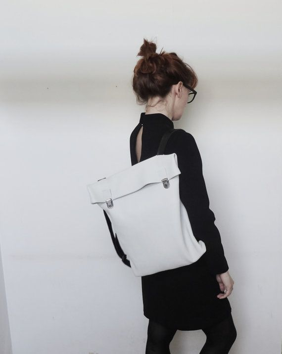 Minimalist Leather Backpack / Leather Rucksack / Messenger / Laptop / Tote / Women/ For Her/ For Him/ White/ Minimalist