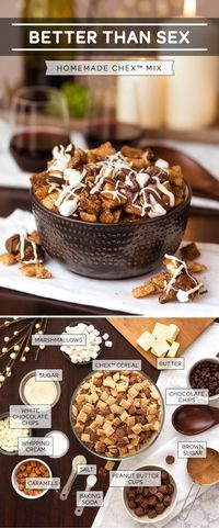 A recipe that is definitely, er, naughty and nice! How can you go wrong when you combine marshmallows. caramel, peanut butter cups, chocolate chips and your favorite Chex cereal? Indulge away friends!