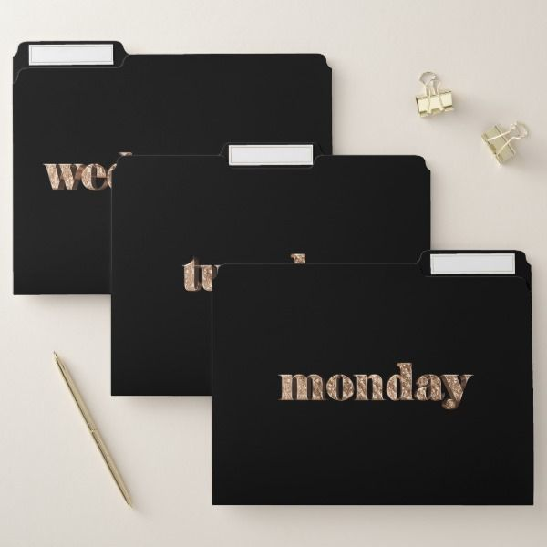 Days of The Week Monday Tuesday Wednesday Gold File Folder