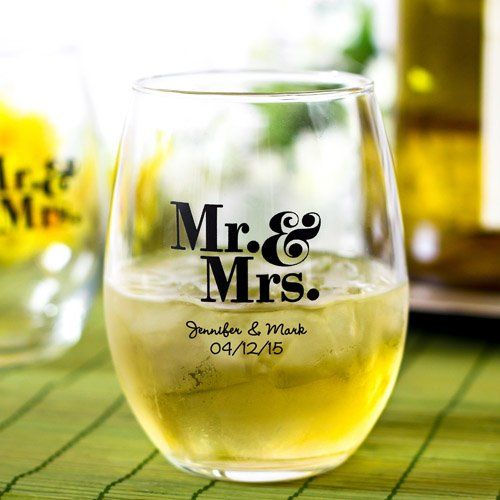 Party Favor? Personalized Mr. & Mrs. Stemless Wine Glasses