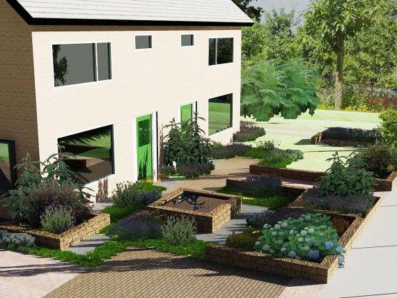 tuinontwerp voor twee voortuinen samen met met de buren 2