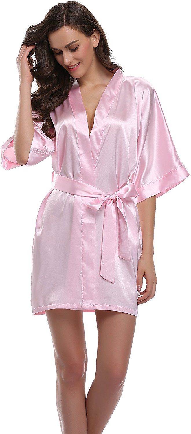 Sunnyhu Women\'s Pure Color Kimono Robe, Short (S, Baby Pink) at ...