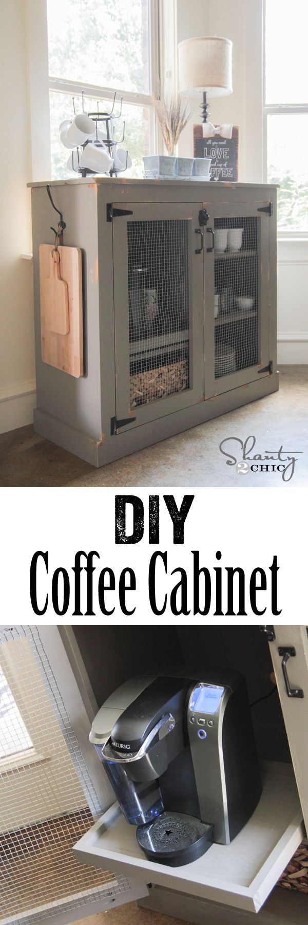 DIY Coffee Cabinet Bar - Free Woodworking Plans and Tutorial www.shanty-2-chic.com