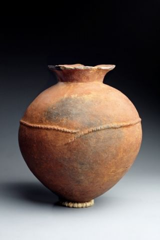 AFTER JOMON. Ceramic vessel, 400-300BC, with rope motif. Yayoi period during which wet-rice agriculture and the use of bronze and iron first appeared in Japan after the Jomon. Hand bullt. But the use of the pottery wheel arose during this period,
