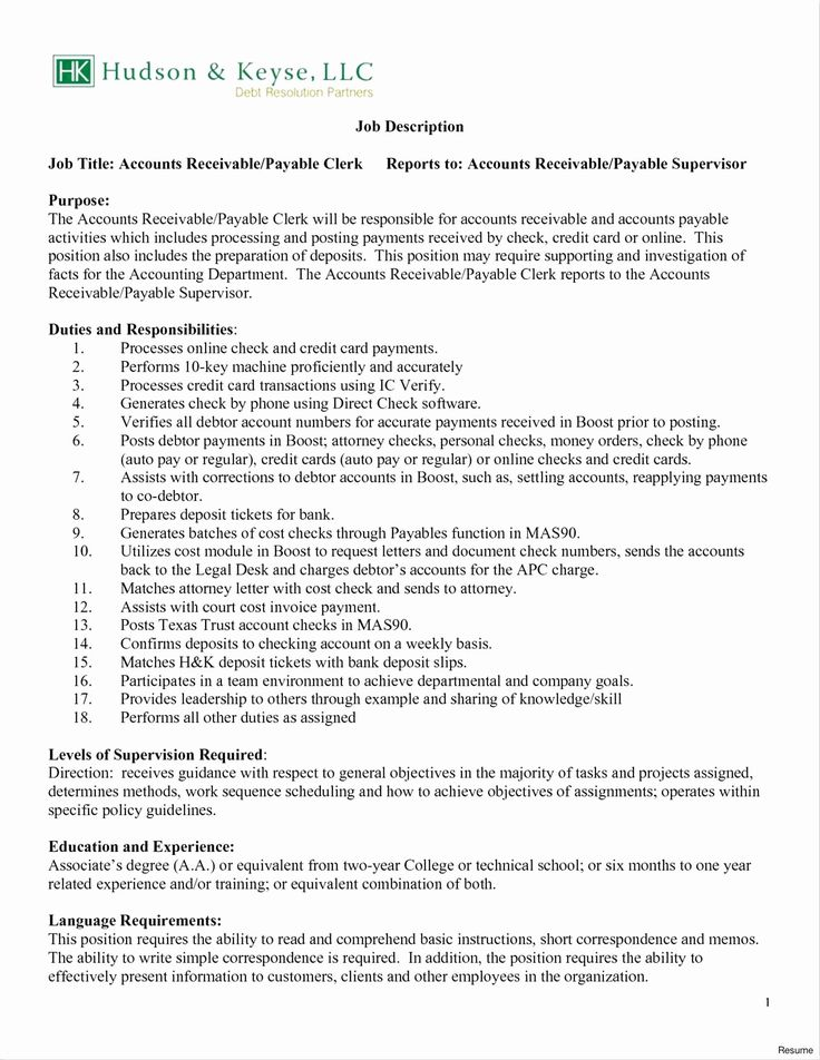 Accounting clerk job description for resume new general