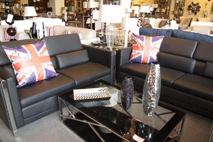 Juego de sala con sof de 2 y 3 plazas negro y cojines - Cojines decorativos para sofas ...