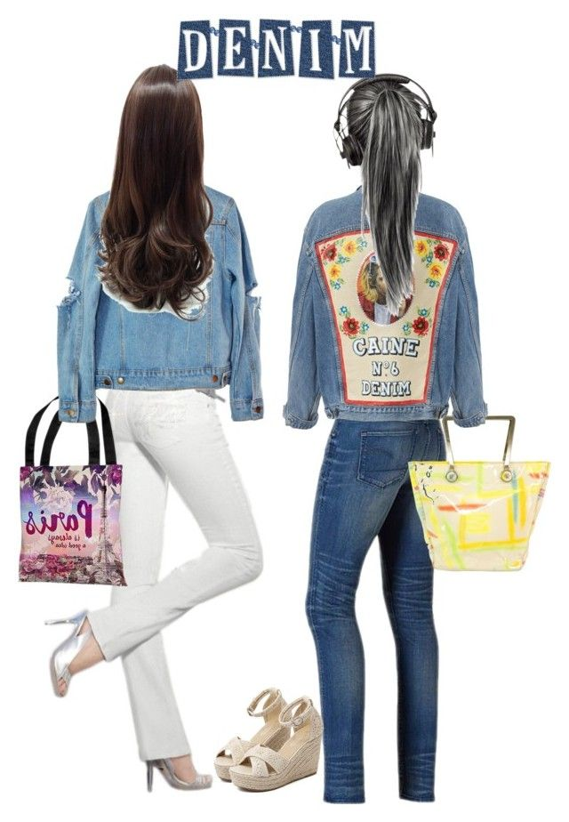 """""""Blue Jean Jackets!"""" by stormi3 ❤ liked on Polyvore featuring G-Star Raw, One Bella Casa, Versace, High Heels Suicide, WithChic and jeanjackets"""