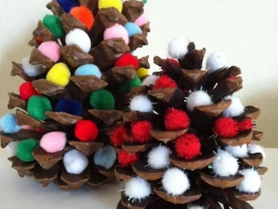 Pine cone pom pom christmas trees kids crafts for Pine cone christmas ornaments for kids