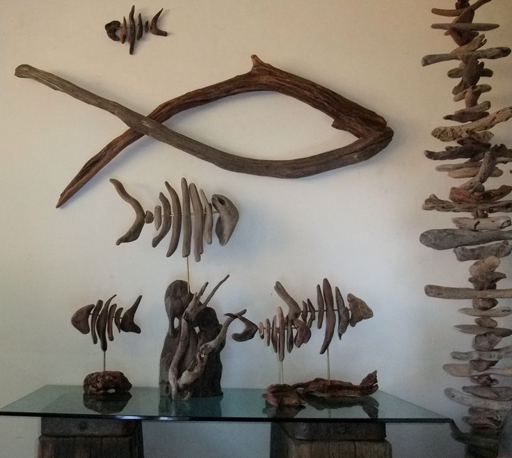 Fish school made from driftwood