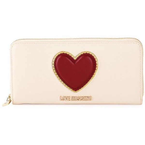 Love Moschino Heart Faux Leather Zip-Around Wallet ($90) ❤ liked on Polyvore featuring bags, wallets, vegan wallet, logo bags, lining bag, love moschino bags and pink bag