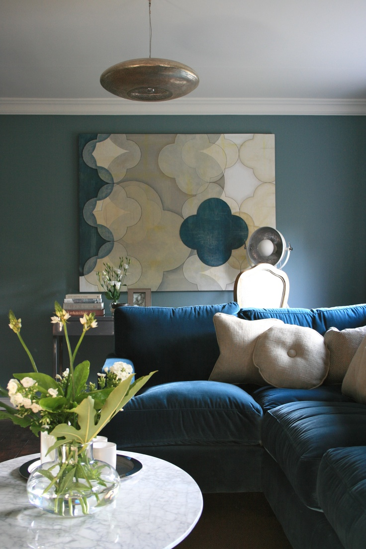 Living room Farrow and Ball Oval Room Blue