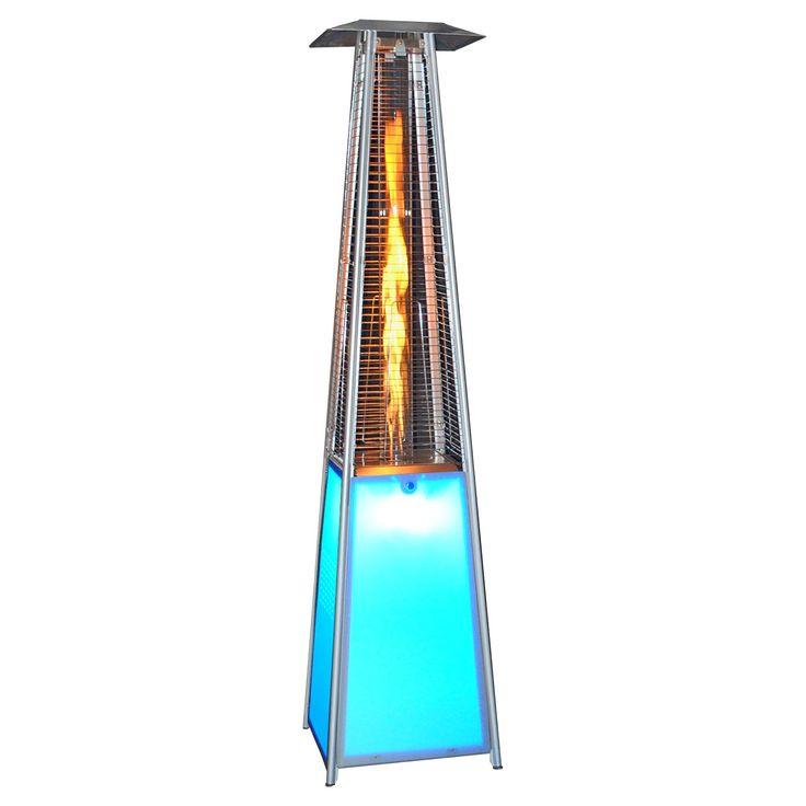 SUNHEAT Contemporary Square LED Glass Tube Propane Patio Heater   The  SUNHEAT Contemporary Square LED Glass