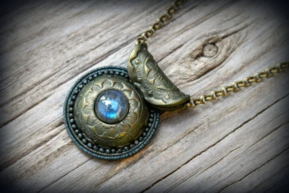Blue Labradorite gemstone polymer clay on natural leather pendant necklace by PeaceElements on Etsy.