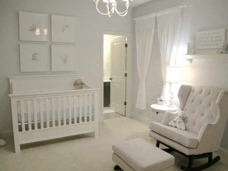 Classic All-White Nursery - #nursery #genderneutralAll White, Rocks Chairs, White Nurseries, Boys Nurseries, Baby Boys, Projects Nurseries, White Baby Room, Baby Boy Nurseries, Baby Nurseries
