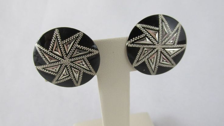 1950s Sterling Silver Etched Pinwheel Screw Back Earrings Signed SK S #SK #ScrewBackCuff