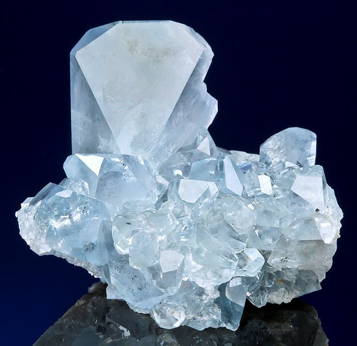 Celestine crystals atop a Celestine cluster. From the Sakoany deposit, Katsepy Commune, Mahajanga Province (Majunga), Madagascar. Measures 6.2 cm by 5.3 cm by 4.3 cm in total size.