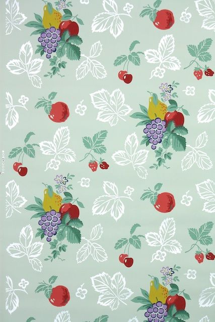 1940s Vintage Wallpaper By The Yard Kitchen Wallpaper With Fruit