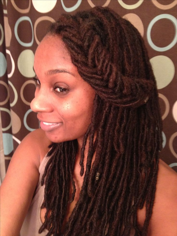 Today I styled my dreadlocks with a fishtail braid bang.