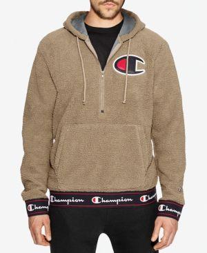 Champion Mens Half Zip Sherpa Pullover Hoodie Champion Cloth