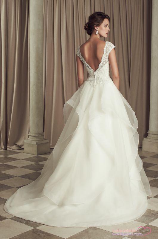 Lace V back on this Paloma Blanca wedding dress