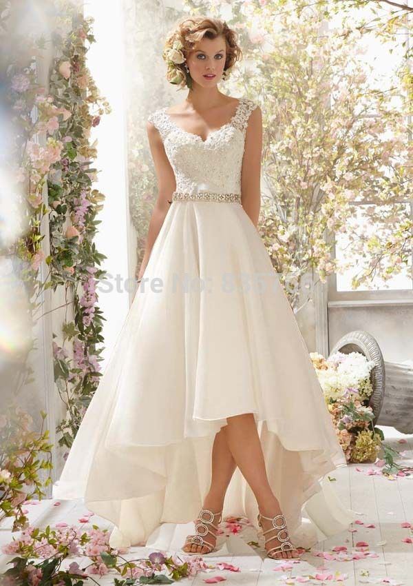 High Low Wedding Dresses Sexy V Neck Organza Bridal Gowns with Beading Belt Lace Vestido De Novias-in Wedding Dresses from Weddings & Events on Aliexpress.com | Alibaba Group