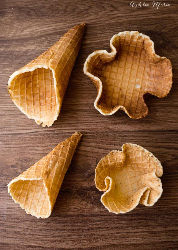 you can make large or small cones or bowls easily with this homemade waffle cone recipe