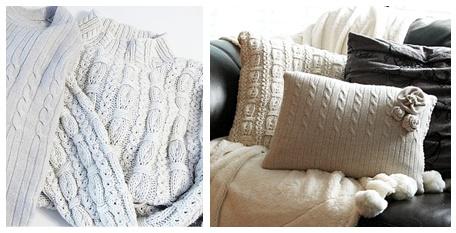 En français svp : mode d'emploi pour se faire des coussins avec de vieux chandails de laine. Youppi !