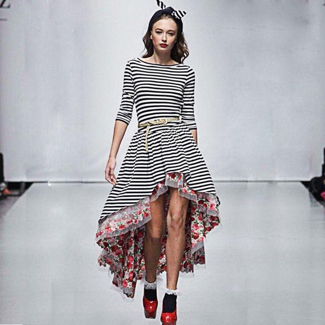 Платье классические, лето женщины классическая ткань в полоску принт кружево пэчворк неправильная половина рукав смокинг платья