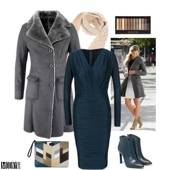 petrolejové-dámske-šaty-kožuch-čižmy-listová-kabelka-béžový-šál