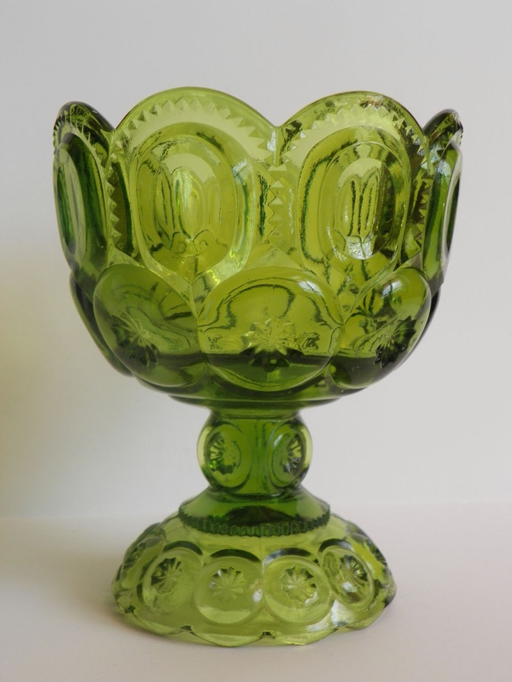 Vintage Mid Century Large Green Glass Goblet - Vase, Planter, Candy Dish, Home Decor. $12.00, via Etsy.