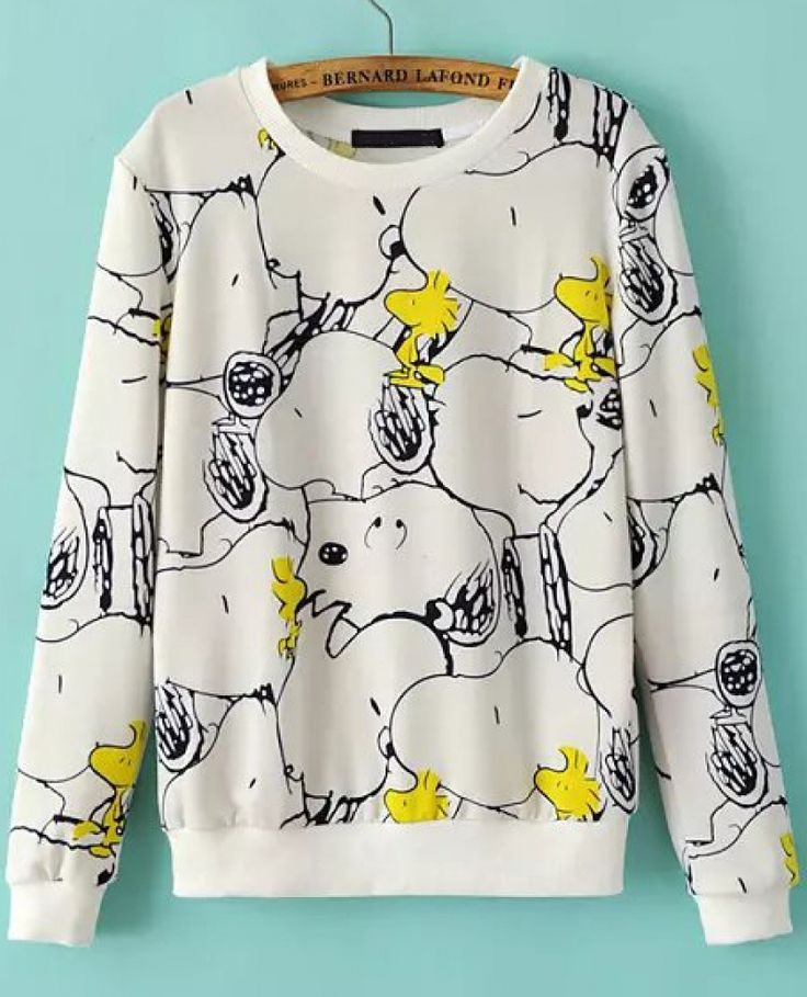 Buy White Long Sleeve Snoopy Print Sweatshirt from abaday.com, FREE shipping Worldwide - Fashion Clothing, Latest Street Fashion At Abaday.com