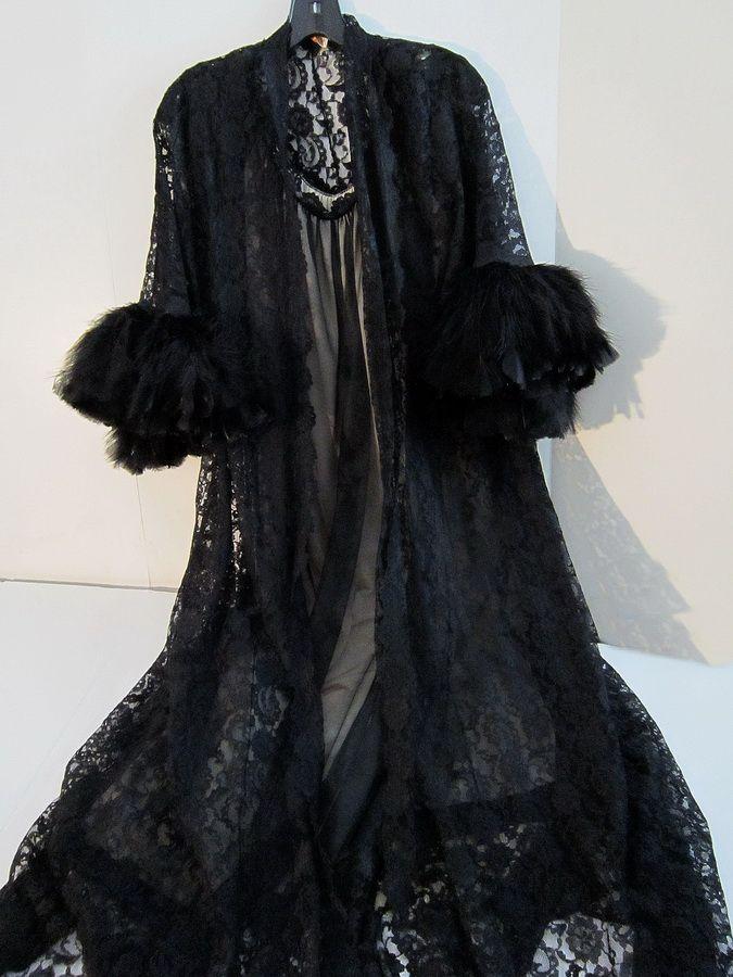 1960 Black Lace & Black Feather Trimmed Penoir