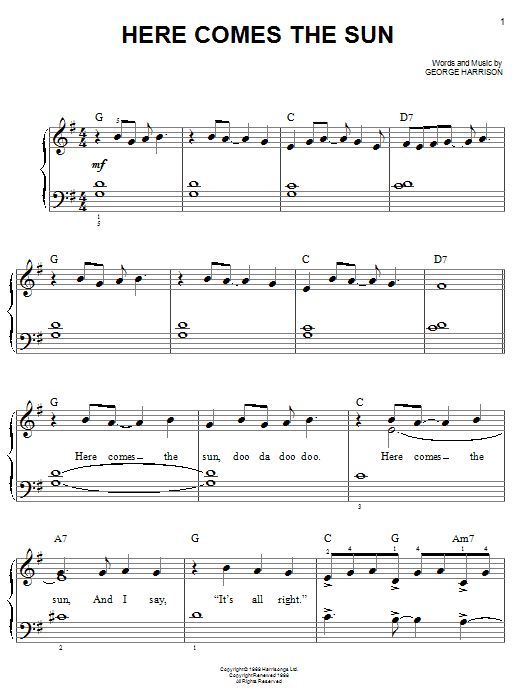 Here comes the sun beatles guitar chords